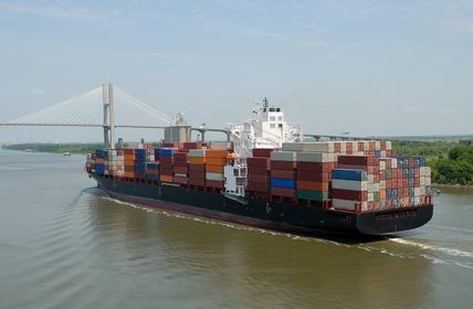 Cargo Container Ship At Savannah Georgia USA